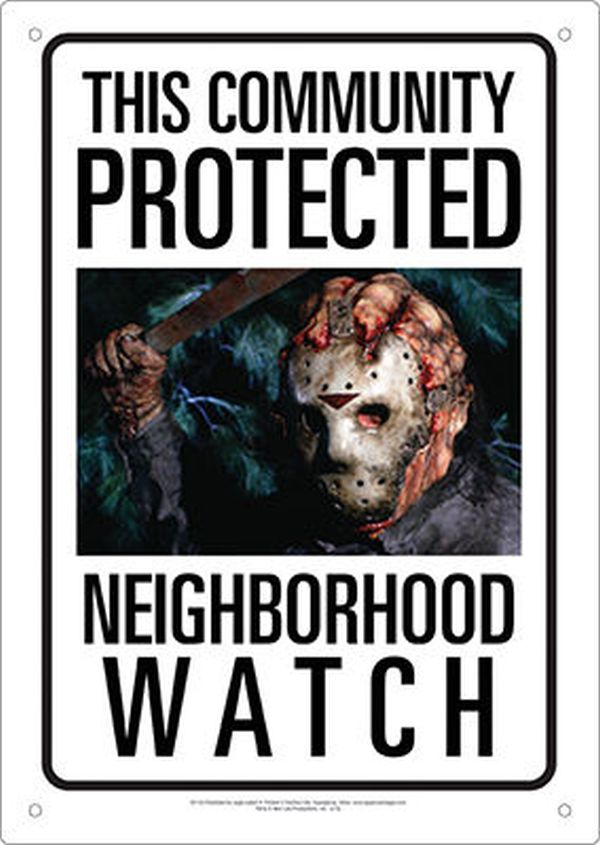 Sinalética Jason Neighborhood Watch Tin Sign 30 cm