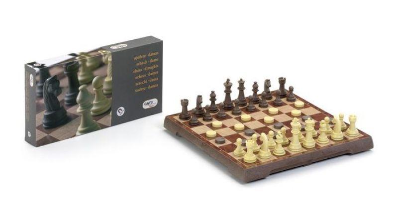 Jogo de Damas + Xadrez Magnético 32x32 cm