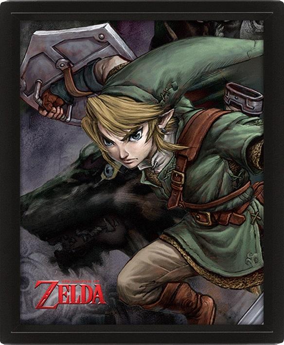 Moldura Premium com Efeito 3D Zelda 26 x 20 cm