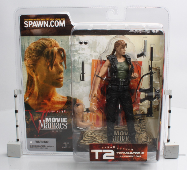 Action Figure Terminator 2 Judgment Day Sarah Connor + Movie Poster 18 cm