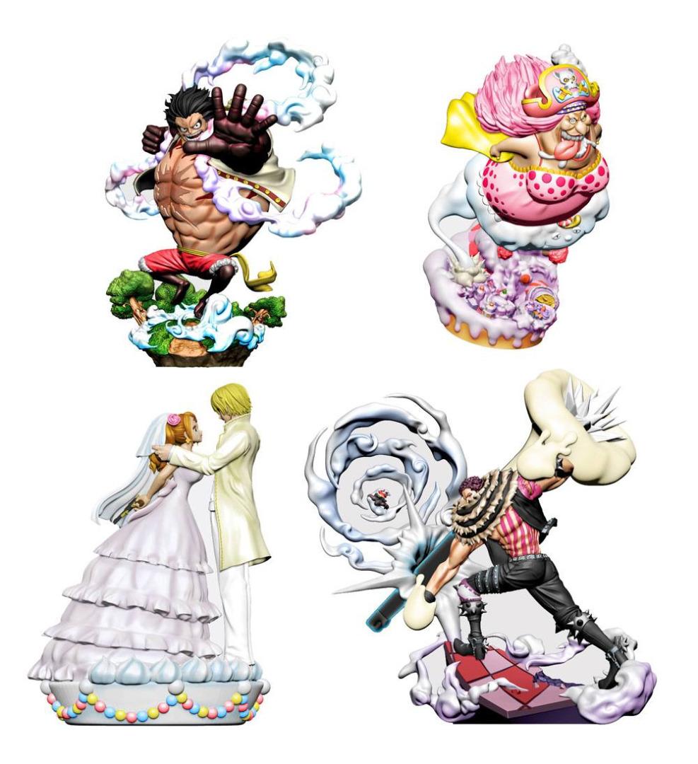 One Piece Log Box Trading Figure 8 cm Re: Birth Whole Cake Island 4-Pack