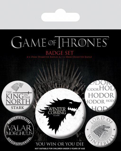 Conjunto de 5 Pins Game Of Thrones Winter Is Coming