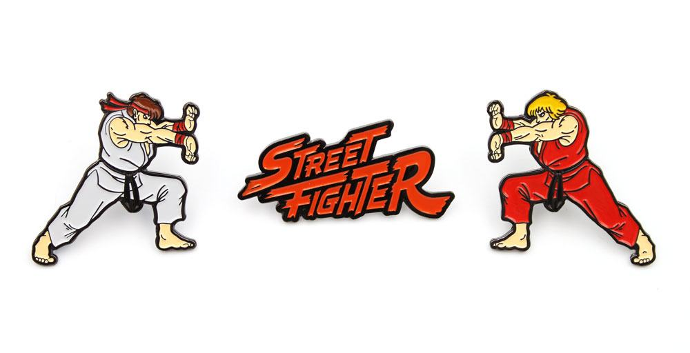Street Fighter 3-Pack Pin Badges Ken, Ryu & Logo