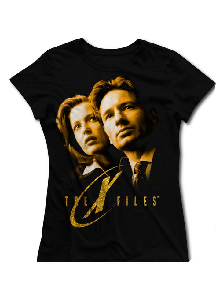 T-Shirt The X-Files Gold Faces (Senhora) Tamanho S