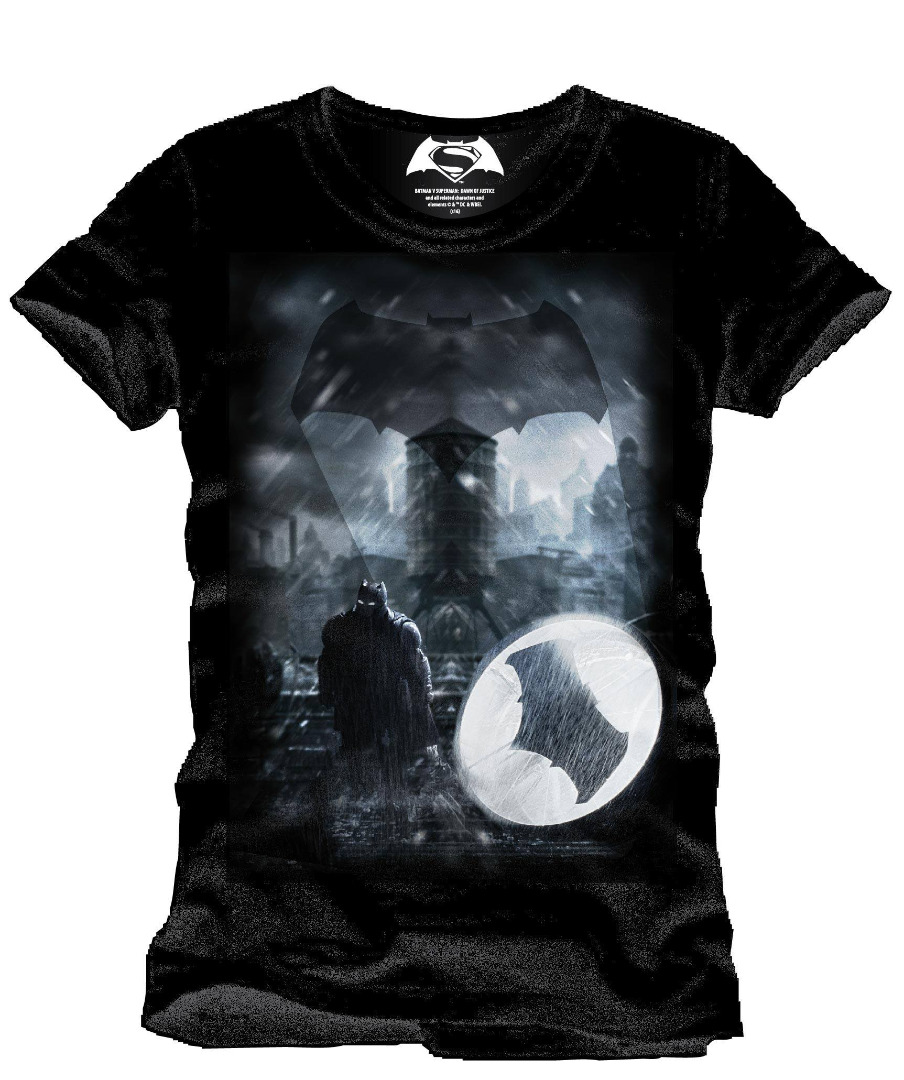 T-Shirt Batman v Superman Dawn of Justice Bat Signal Tamanho M