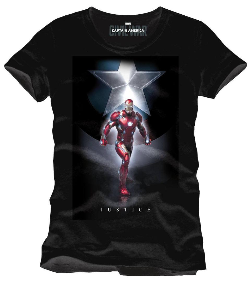 T-Shirt Captain America Civil War Justice Tamanho L