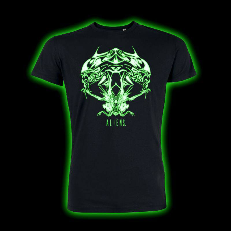 T-Shirt Alien Tribal Queen Glow In The Dark Tamanho S