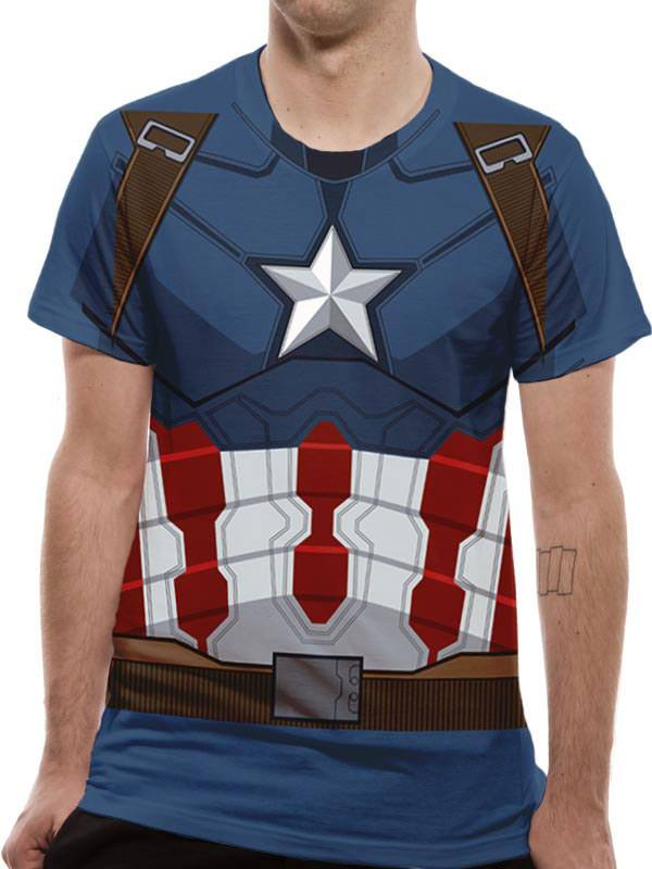 T-Shirt Captain America Sublimation Suit Costume Tamanho M