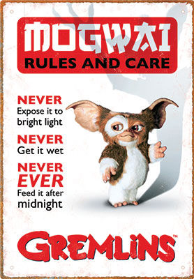 Sinalética Gremlins Rules Tin Sign 30 cm