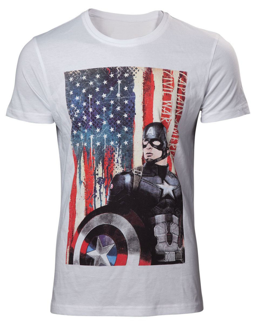 T-Shirt Marvel Captain America Civil War American Flag Tamanho L