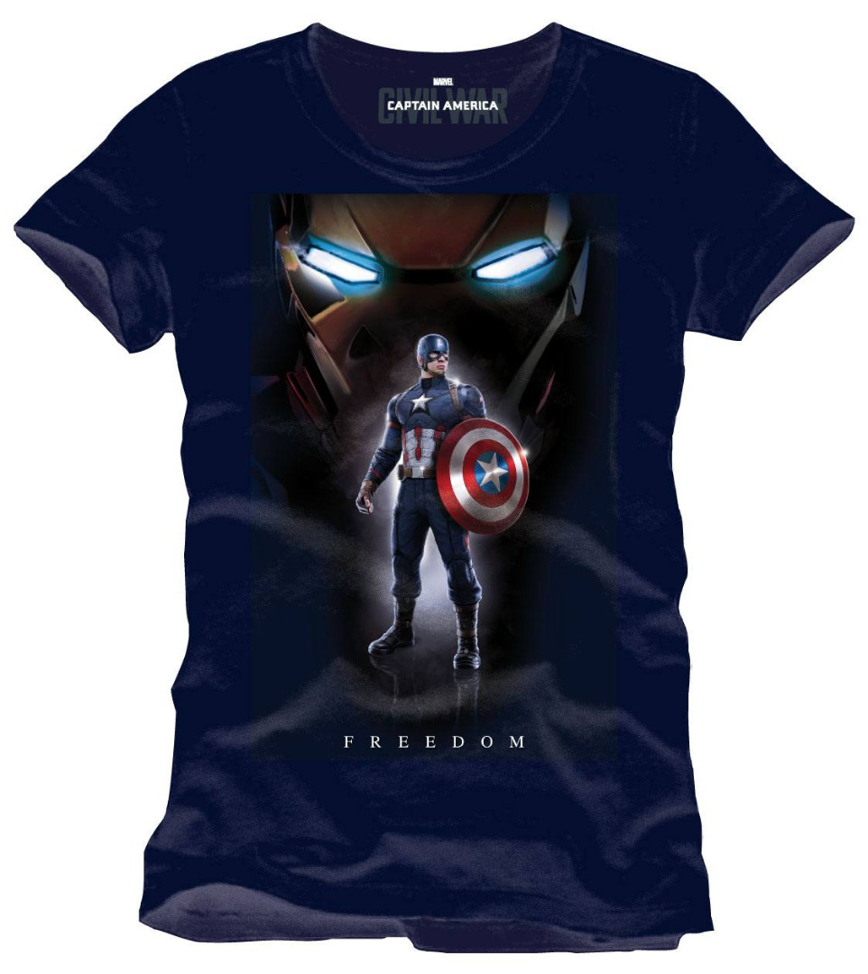 T-Shirt Captain America Civil War Freedom Tamanho XL