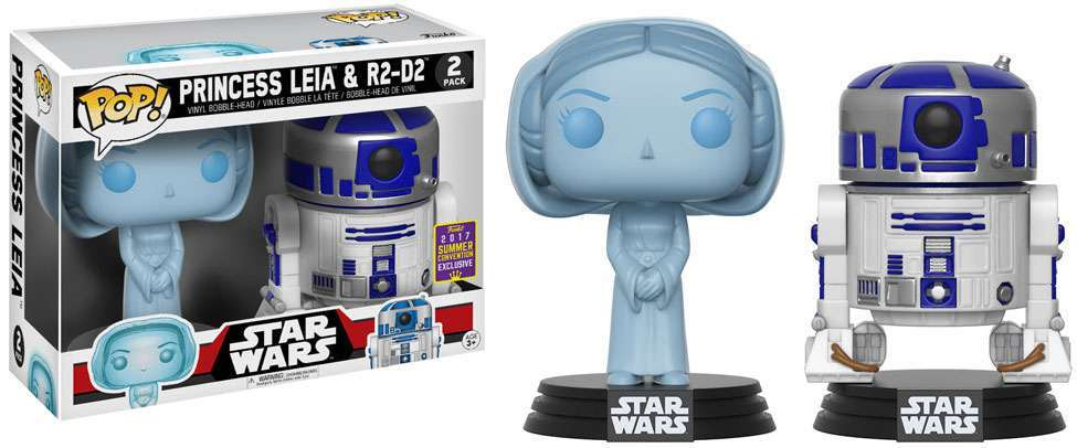 Star Wars POP! Vinyl Bobble-Head 2-Pack Holographic Leia & R2D2 SDCC 2017