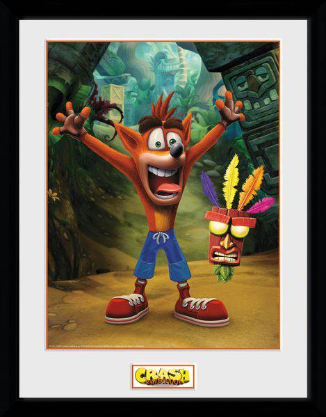 Poster com Moldura  Premium Crash Bandicoot Aku Aku 45 x 34 cm
