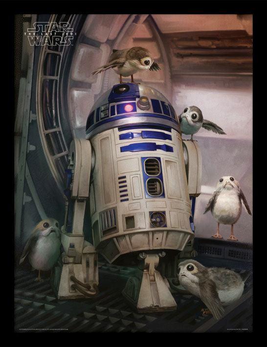 Poster com Moldura Premium Star Wars Episode VIII R2-D2 & Porgs 45 x 33 cm