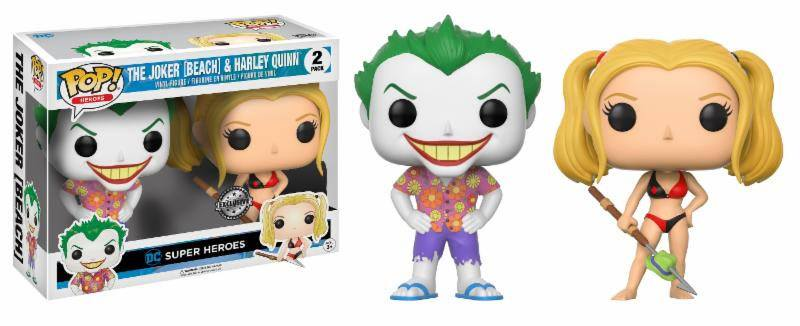 DC Comics POP! Heroes Vinyl Figures 2-Pack Beach Joker & Harley Exc. 10 cm