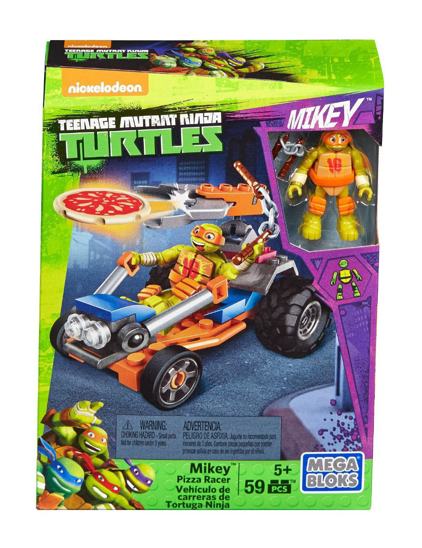 Teenage Mutant Ninja Turtles Mega Bloks Construction Set Mikey Pizza Racer