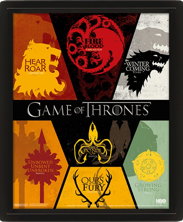 Moldura Premium com Efeito 3D Game of Thrones 26 x 20 cm