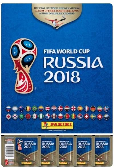 Caderneta Mundial 2018 + 5 Carteirinhas de Cromos