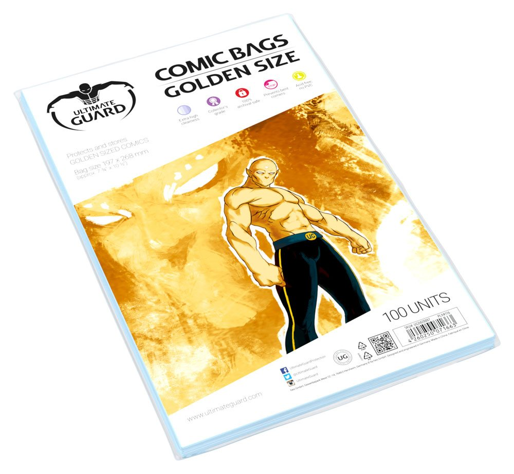 Pack de 100 Unidades Ultimate Guard Comic Bags Golden Size