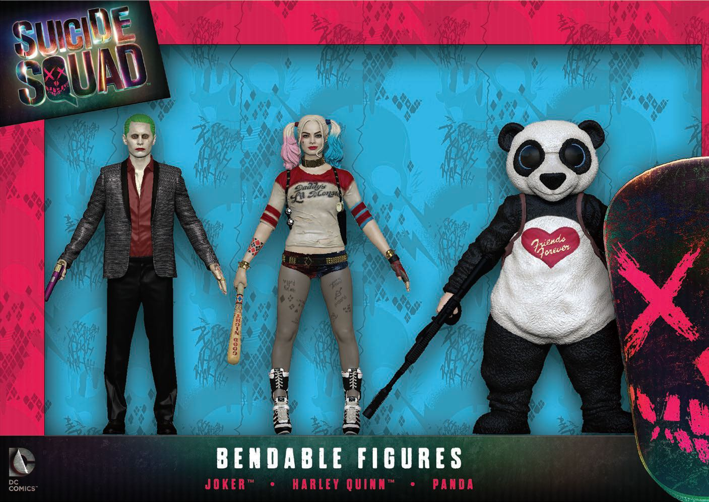 Suicide Squad Bendable Figures 3-Pack 14 cm