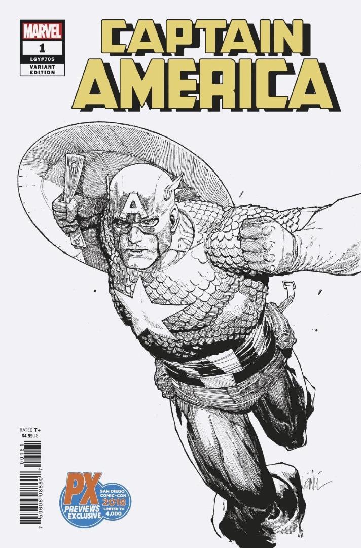 SDCC 2018 Exclusive CAPTAIN AMERICA #1 Variant Cover (oferta capa protetor)